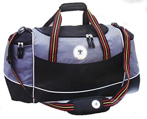 DFB Retro Reisetasche Sporttasche Weekender Tasche Freitzeit Tasche Lizensprodukt Grau - Schwarz