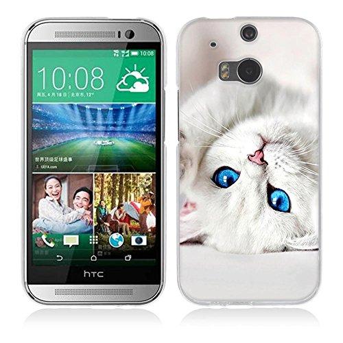One M8 / M8S Hülle Case, Fubaoda [Weißes Kätzchen] Ultra-Clear HTC One M8 / M8S Case Silikon Soft TPU Premium Handyhülle Case Backcover Bumper Slim case für HTC One M8 / M8S