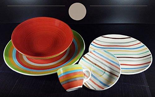 Albalù Italia Servizio Piatti da TAVOLA Colorati in Ceramica di Design Shabby Chic | 6 Persone 18 Pezzi : 6 Piatti Fondi, 6 Piatti Piani, 6 Piatti Frutta