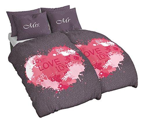 *4 Teilig Baumwolle Renforce Partner Bettwäsche Mr. und Mrs. Love mit Wende Kissenbezug Grau Pink, 2X 155×220 2X 80×80 cm*