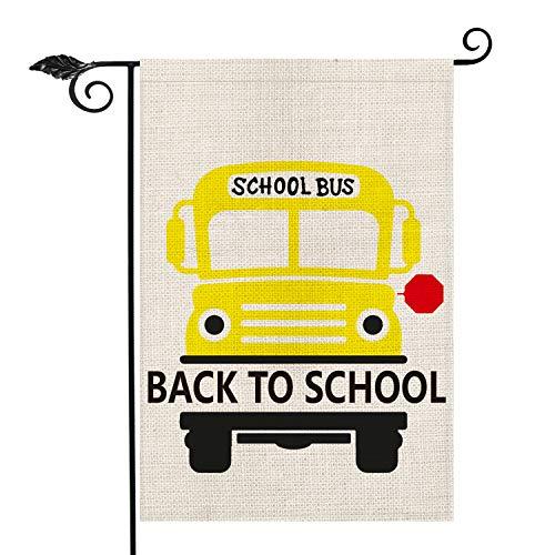 AVOIN Schul-Bus, Gartenflagge, doppelseitig, Schulanfang Schulanfang, Jutehof, Außendekoration, 31,8 x 45,7 cm