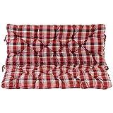 Ambientehome - Asiento y respaldo para banco, 2 plazas, diseño a cuadros rojo, aprox. 120 x 98 x 8 cm, para banco, cojines acolchados