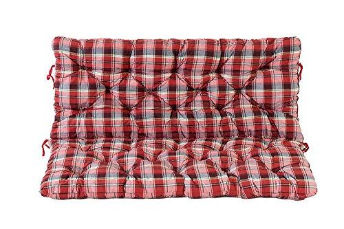 Ambientehome 2er Bank Sitzkissen und Rückenkissen Hanko, kariert rot, ca 120 x 98 x 8 cm, Bankauflage, Polsterauflage