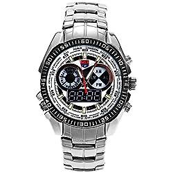 Leopard Shop TVG 568 Digital Quartz Double Movt Men Watch Luminous LED Display Military Wristwatch Day Alarm Chronograph White