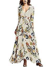 Vestiti Lunghi Donna Eleganti Da Cerimonia Estivi A Pieghe Abito Impero  Manica 3 4 Stampato Floreale Camicia Vestito Con Bottoni V Scollo… 781b5f52b94