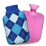 XIMU Borsa dell' Acqua Calda, 2L Gomma Caldo Bottiglia d'Acqua Mini con Morbida Fodera in Peluche Rimovibile e Lavabile Bottiglia di Acqua Calda in Gomma Hot Water Bottle per Mano Piede Caldo