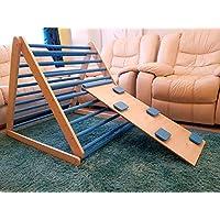 Triangolo pikler, triangolo a gradini, scala rampicante per bambino, triangolo per bambini, Puoi scegliere un triangolo senza o con una o due rampe nelle opzioni