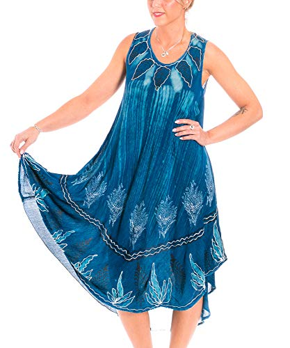 Sommerkleid Jeansblau Strandkleider träger Tunika Trägerkleid dunkel Jeansblau StB12633