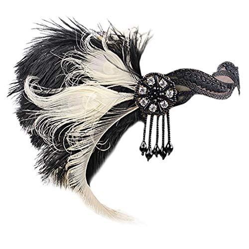 VJGOAL Damen Mädchen Mode Elegant 1920er Jahre Kopfschmuck Feder Flapper Stirnband Great Gatsby Headdress Vintage Braut Party Kopfbedeckung Frau ()