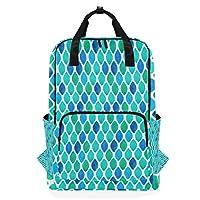 FANTAZIO Abstract Cyan Diamond Pattern Backpack Casual Daypack