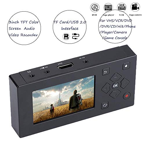 Recording Player,tragbarer USB/SD 3'' TFT Bildschirm,AV Rekorder Konverter Echtzeit Video Aufpassen achungsanwendung für Kassettenrekorder Kamera/VHS/ VCR/DVD/DVR/Hi8/Spielekonsole ()