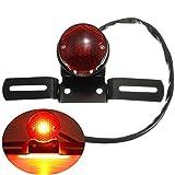 Motorrad Rücklicht Blinkerleuchte LED Rot Gehobelt Kennzeichnenleuchte mit Halter Retro