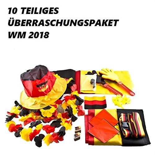 Überraschungspaket, Fanset für Deutschland - Fanartikel für die WM 2018 Fanset 10 Teile für Public Viewing Partyabend - Restpostenpaket, mit 10 Teilen