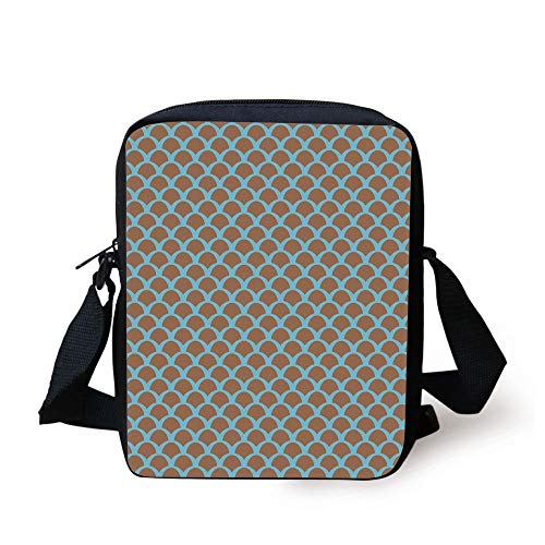 WITHY Fish,Squama Pattern with Intertwined Half Circles Aquatic Animal and Snake Scale Design,Tan Pale Blue Print Kids Crossbody Messenger Bag Purse Snake-leather-tan