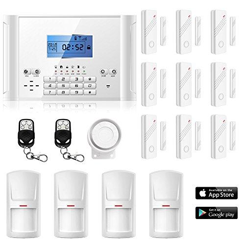 ERAY M2C GSM Funk Alarmanlage mit LCD Display,Alarm SMS Anruf,Service + Support + Garantie,99 Zonen erweiterbar,Deutsche Anleitung,Alarmanlagen Basisset,mit 4 Bewegungsmelder und 9 Türkontakten,2 Fernbedienung
