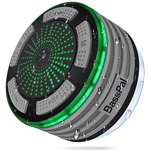 BassPal Dusche Lautsprecher, Wasserdicht IPX7 Tragbare Wireless Bluetooth 4.0 Lautsprecher mit Super Bass und HD Sound, Perfekte Lautsprecher für Strand, Pool, Küche & Home (02.Grau)