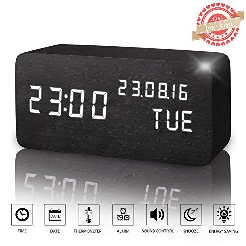 LED Digital Wecker Modern Holz Wecker Tischuhr mit Uhrzeit/Datum/Woche/Temperatur Anzeige,Einstellbare Helligkeit Sound Control-Schreibtisch-Wecker für Heim und Büro (Schwarz)
