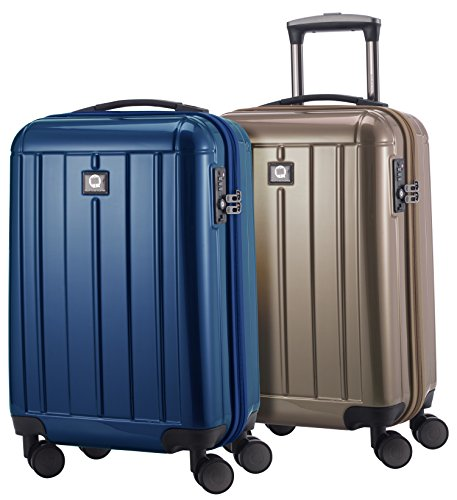 HAUPTSTADTKOFFER - Kotti - 2er Koffer-Set Trolley-Set Rollkoffer Reisekoffer Handgepäck Bordgepäck, Hartschalenkoffer, TSA Zahlenschloss, Blau & Gold Glanz
