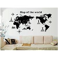 Venkaite Pegatinas Pared Mapa del Mundo Vinilos Adhesivos DIY Wall Stickers para Hogar Dormitorio Decorativos 60x120 cm (23.6x47.2 inches)