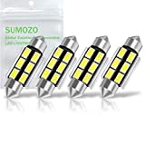 SUMOZO Autobulbs Festoon C5W Led Bulbs 39mm Canbus Error Free 6000K White Light 6-SMD 5730 for Car Interior Dome License Number Plate Side Door Lights Pack of 4 (39mm)