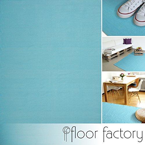 Moderner Baumwoll Teppich Living türkis/blau 140x200cm - waschbarer Webteppich aus 100% Baumwolle