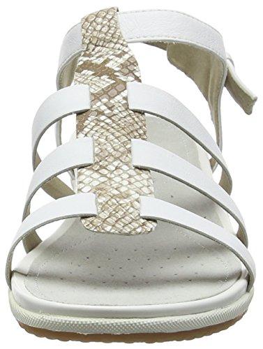 Geox Vega A, Sandales Bout Ouvert Femme Blanc (White/lt Beige)