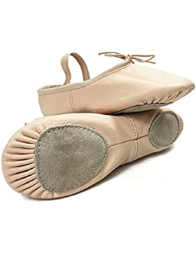 DANCE YOU 1102-2 Balletschläppchen Gymnastikschuh Aus Leder Ballettschuhe Gymnastikschläppchen mit Geteilte Sohle...