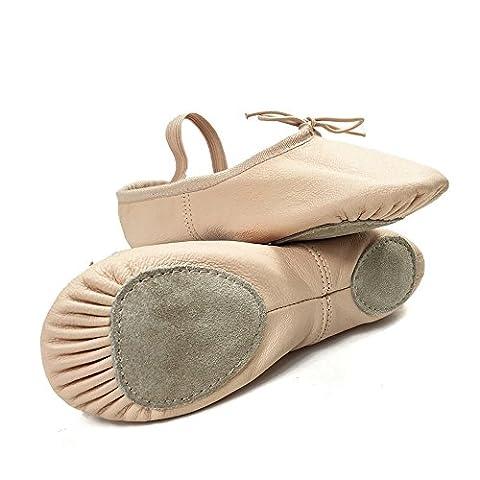 DANCE YOU 1102-2 Chaussons de pointe en cuir chaussures de ballet avec lacet en cuir de porc Demi pointe de ballet danse classique chaussures Chaussures durables pour Yoga ou Gym Tailles complètes