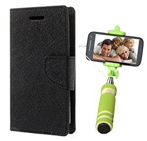 Aart Fancy Diary Card Wallet Flip Case Back Cover For Nokia 640 - (Black) + Mini Aux Wired Fashionable Selfie Stick Compatible for all Mobiles Phones By Aart Store