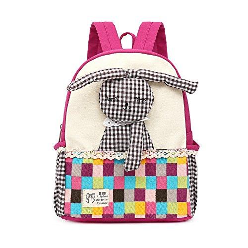 FRISTONE Niedlich Tier Hase Baby Rucksack Kinderrucksack Kleinkind Mädchen Kindergartenrucksack Backpack (Rose Rot)
