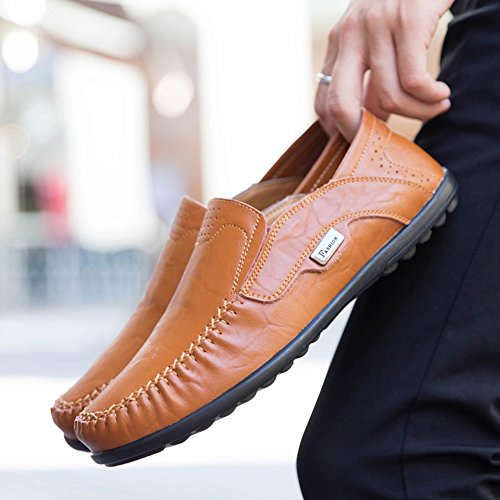 Gaatpot Hommes Casual Chaussures Bateau Loafers Plats Conduite Mocassins Marron