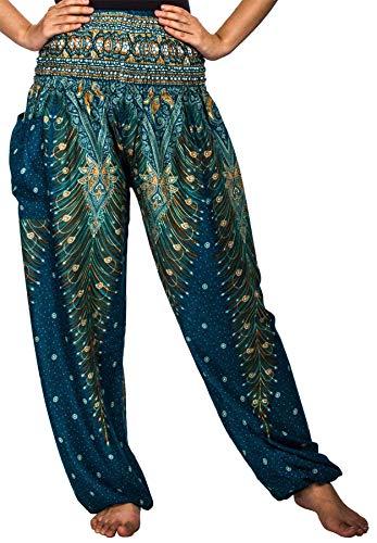 Lofbaz Damen Lange Bohemian Maxi Rock Hippie Gypsy Boho Kleid - Peacock 1 Teal grün - OS -