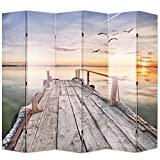 Festnight Klappbar Raumteiler Paravent Raumtrenner Dekorative Sichtschutz Zusammenklappbar 228 x 180 cm Muster See mit Steg