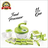 Bagonia Ankur 11 In 1 Manual Food Processor - Chopper, Blender, Atta Maker, Salad Maker, Slicer, Grater, Churner, Peeler (Green)