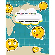 DRAW and WRITE primary composition notebook, 8 x 10 inch 200 page,funny emoji travel map: Kids composition book journal for kindergarten first, 2nd, and 3rd grade