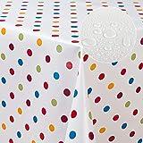 laro Wachstuch-Tischdecke Abwaschbar Garten-Tischdecke Wachstischdecke PVC Plastik-Tischdecken Eckig Meterware Wasserabweisend Abwischbar G03, Muster:Punkte Weiss-bunt, Größe:100x140 cm - 4
