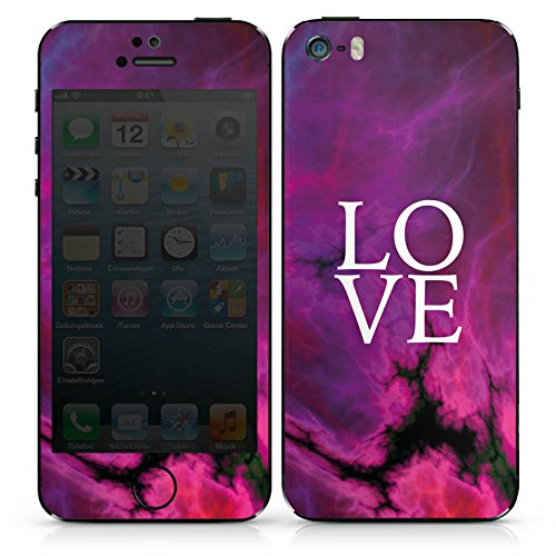 Apple iPhone SE Case Skin Sticker aus Vinyl-Folie Aufkleber Love Pink Lila Muster DesignSkins® glänzend