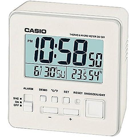 Casio DQ-981-7ER - Despertador (LCD, AA / LR6 x 2, Color blanco)