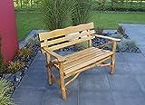 TPFGarden Gartenbank Darwin 2-sitzer aus Eiche + Buche massiv | Knüppelholzbank | Holzschutzlasur + Klarlackschicht | Farbton: Eiche dunkel | 1 Stück