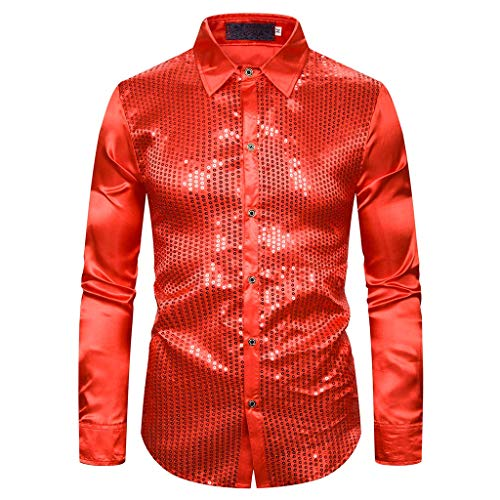 Herren Hemd Bronzing Slim Fit Dress Hemd Button Down Largarm Shirt Kleid Sequin Gold Kostüm für Party Leistung EA64 (rot, L)