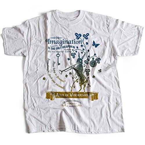 5016w Alice In Wonderland Mens T-Shirt Lewis Carroll White Rabbit Cheshire Cat Fantasy Children Adventures