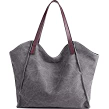 c5b0dc0a86c6f JuguHoovi Damen Handtasche Canvas Schultertasche Umhängetasche Damen  Shopper Tasche für Mädchen Schule Frauen Shopper