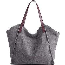 JuguHoovi Damen Handtasche Canvas Schultertasche Umhängetasche Damen Shopper Tasche für Mädchen Schule Frauen Shopper