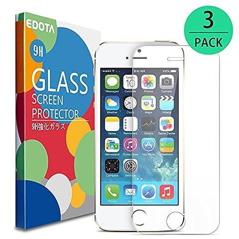 Verre Trempé iPhone SE/5s/5c/5, Edota Film Protection en Verre trempé écran Protecteur Vitre- ANTI RAYURES - SANS BULLES D'AIR -Ultra Résistant Dureté 9H Glass Screen Protector pour iPhone SE/5s/5c/5 [Lot de