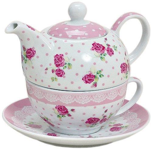 Tea for one Set 3-teilig Porzellan Teekanne mit Tasse und Untertasse mit Rosen und Blumen Motiv (Rosa) -