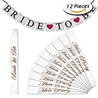 Paxcoo 11 Pcs White Hen Party Sashes and Bride to Be Banner