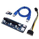 AIHOME PCI-E PCI Express Extender Riser Card Adapter 1x auf 16x mit USB 3.0 Kabel SATA auf 6-Pin Stromkabel VER0005 Blue Board 60cm für Bitcoin BTC Mining