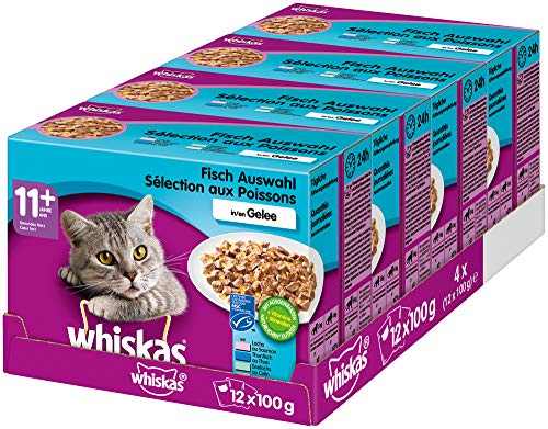 Whiskas 11 + Katzenfutter, Hochwertiges Nassfutter für gesundes Fell,  Fischauswahl, 4er Pack (4 x 12 x 100g)