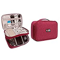 BUBM Universal Double Layer Carry Case Gear Org anizerfor USB Cable Battery Phone Charger Case Travel Organiser Padded Electronic Laptop Adapter Case (Red)