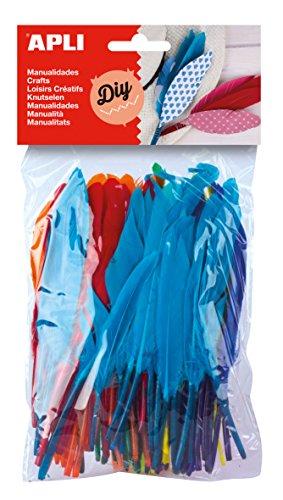 APLI - Bolsa plumas colores surtidos, 100 uds